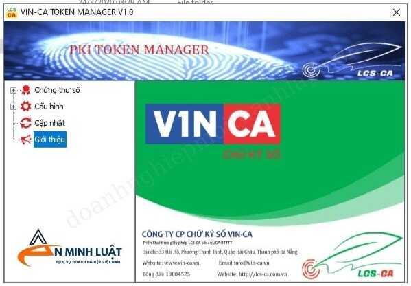 Giao diện phần mềm chữ ký số VinCA